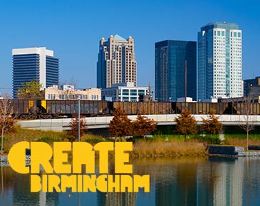 Graphic for create birmingham in bold yellow font over birmingham skyline